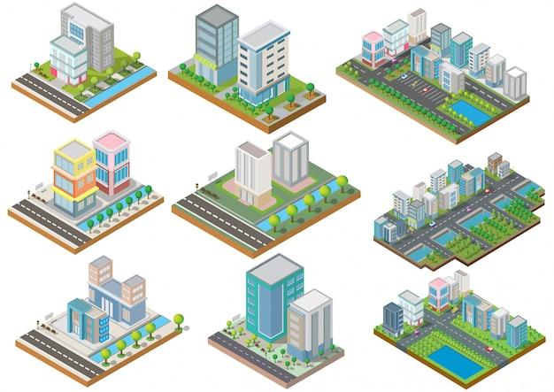 Conjunto de edifícios isométricos com quintal, rio, estrada e árvores