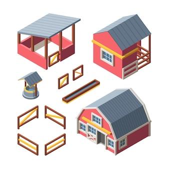 Conjunto de edifícios isométricos de fazenda. armazém que armazena grãos de feno bebendo tigela animais celeiro cerca de madeira retro galinheiro bem galinheiro.
