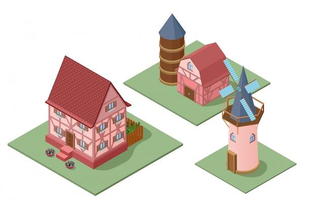 Conjunto de edifícios isométricos de fazenda