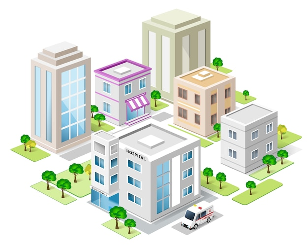 Conjunto de edifícios isométricos detalhados da cidade. cidade isométrica. ilustração.