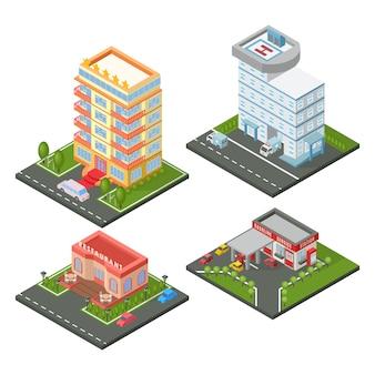 Conjunto de edifícios isométricos.