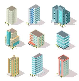 Conjunto de edifícios isométricos
