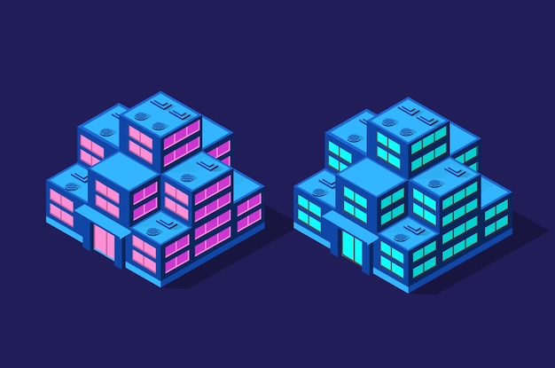 Conjunto de edifícios modernos isométricos