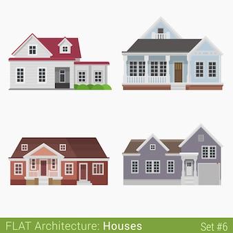 Conjunto de edifícios modernos, rurais, subúrbios, casas, elementos da cidade, arquitetura elegante, coleção de propriedades imobiliárias
