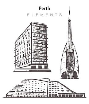 Conjunto de edifícios perth desenhados à mão