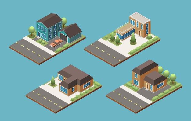 Conjunto de edifícios suburbanos