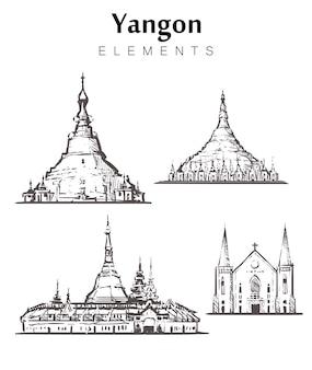 Conjunto de edifícios yangon desenhados à mão