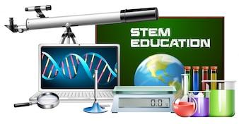 Conjunto de educação de haste de objeto de tecnologia