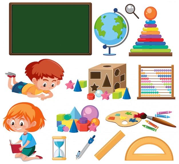 Conjunto de educação de tema de objetos isolados