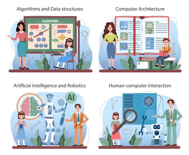 Conjunto de educação de ti. alunos aprendendo sobre algoritmos, ia e computadores