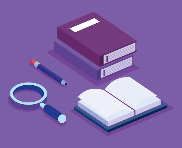 Conjunto de educação isométrica ícones vector design ilustração