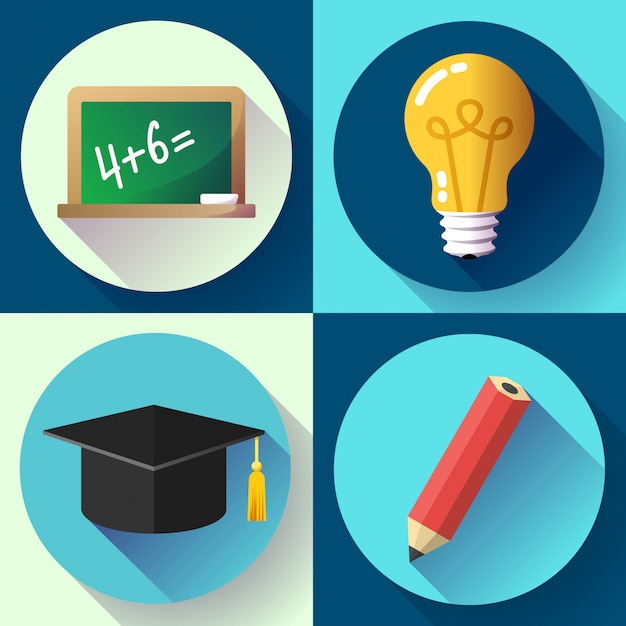 Conjunto de educação. lâmpada, lápis, chapéu de graduação, ardósia,