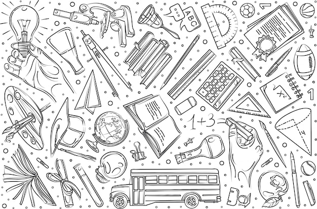Conjunto de educação mão desenhada doodle fundo