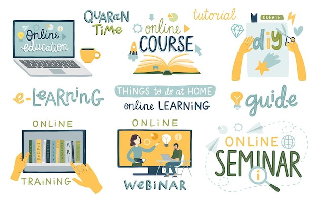 Conjunto de educação online tutorial seminário treinamento em webinar letras e outros elementos