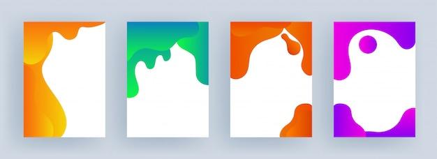 Conjunto de efeito de arte fluida de cor diferente com copyspace