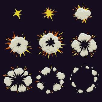 Conjunto de efeito de explosão no estilo cômico dos desenhos animados.