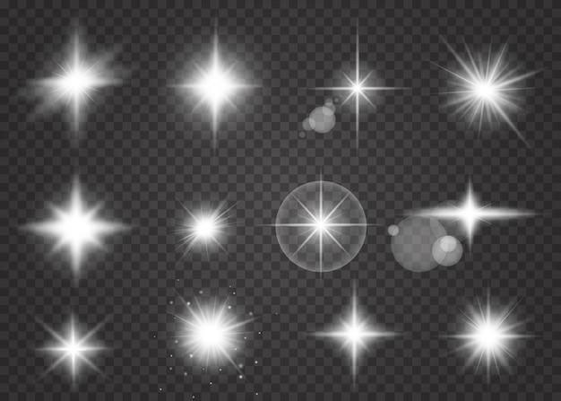 Conjunto de efeito de luz branca de brilho isolado.