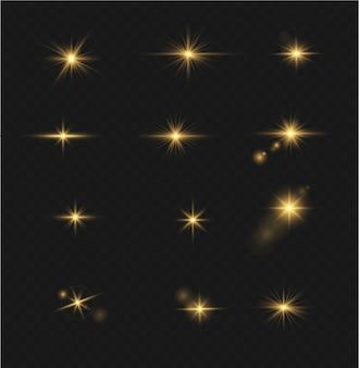 Conjunto de efeito de luz de flash transparente de vetor, lente especial de luz solar. flashes e brilhos dourados brilhantes