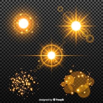 Conjunto de efeito de luz dourada