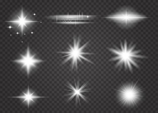 Conjunto de efeito de luz transparente branco de brilho isolado.