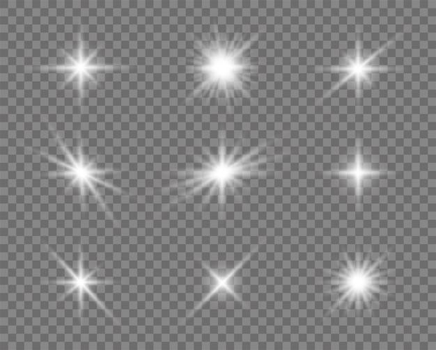Conjunto de efeito de luzes brilhantes, reflexo, sol e estrelas.