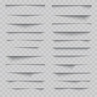 Conjunto de efeito de sombra realista de papel transparente