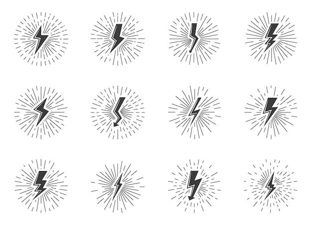 Conjunto de efeito de sunburst de sinal de relâmpago vintage preto. retro ícone choque elétrico, raio de luz de energia