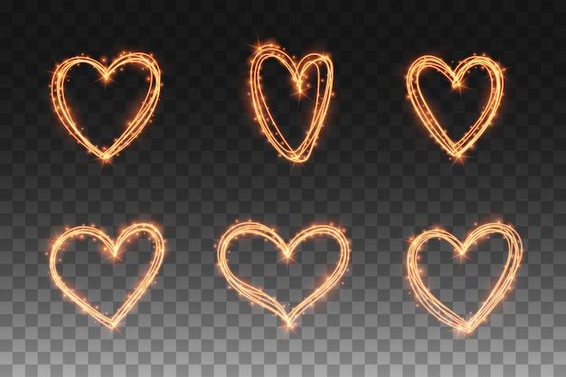 Conjunto de efeitos de brilho da luz do coração