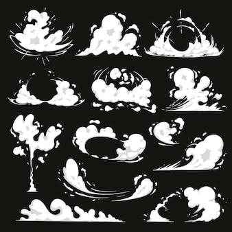 Conjunto de efeitos de explosão em quadrinhos vetor poeira fumaça nuvem explosão de energia dos desenhos animados e faíscas de velocidade de movimento