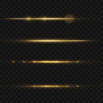 Conjunto de efeitos de luz amarela isolada de brilho, reflexo de lente, explosão, brilho, linha, flash de sol e estrelas. projeto de elemento de efeito especial abstrato. raio de brilho com relâmpago.