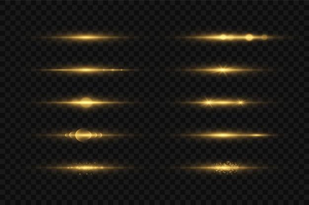 Conjunto de efeitos de luz amarela isolada de brilho, reflexo de lente, explosão, brilho, linha, flash de sol e estrelas.