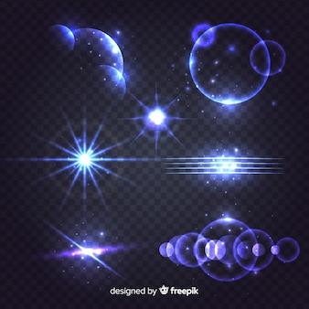 Conjunto de efeitos de luz azul brilhante