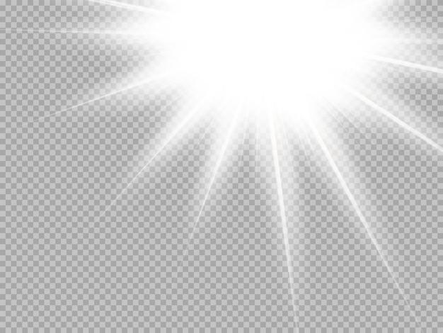 Conjunto de efeitos de luz branca transparente com brilho isolado reflexo de lente explosão linha de brilho flash solar