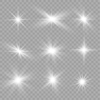 Conjunto de efeitos de luz branca transparente com brilho isolado