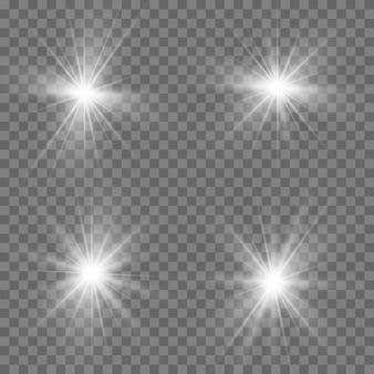Conjunto de efeitos de luz branca transparente de brilho isolado, reflexo de lente, explosão, brilho, linha, flash de sol, faísca e estrelas.