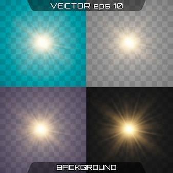 Conjunto de efeitos de luz brilhante realista