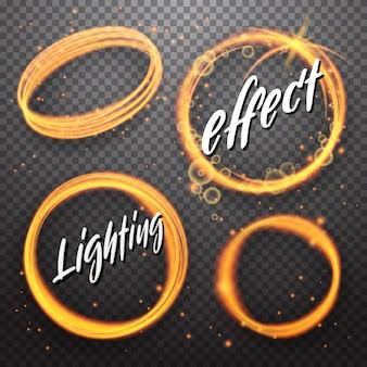 Conjunto de efeitos de luz brilhantes de círculo e eclipse