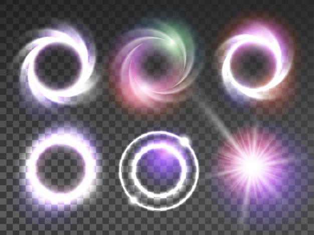 Conjunto de efeitos de luz brilhantes transparentes isolados