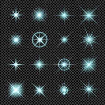Conjunto de efeitos de luz de bétula, isolado em fundo transparente