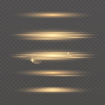 Conjunto de efeitos de luz de néon brilhante de vetor. linha dourada abstrata com brilho e efeito bokeh. luz do flash. linhas brilhantes.