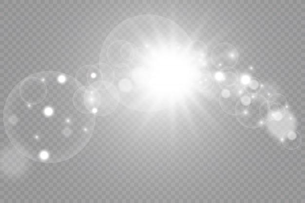 Conjunto de efeitos de luz dourada na transparente.