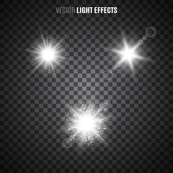 Conjunto de efeitos de luz em fundo transparente. luz branca das estrelas, raios de sol, labaredas, brilhos. luzes brilhantes. ilustração.