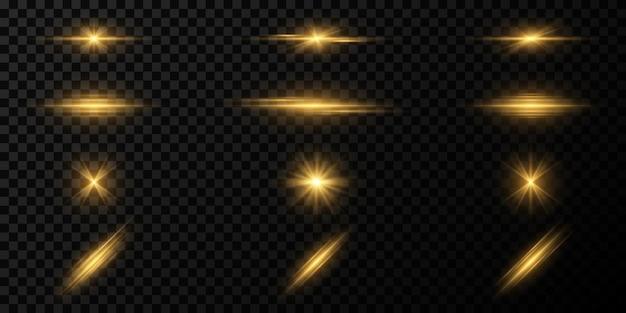 Conjunto de efeitos de luz em um fundo escuro e transparente. feixes mágicos. raios brilhantes. vetor