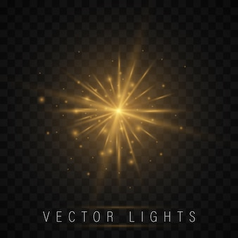 Conjunto de efeitos de luz. estrela brilhante, as partículas do sol e faísca