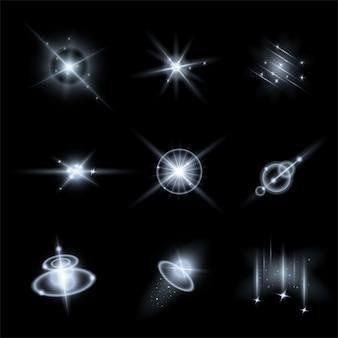 Conjunto de efeitos de luz ilustração vetorial