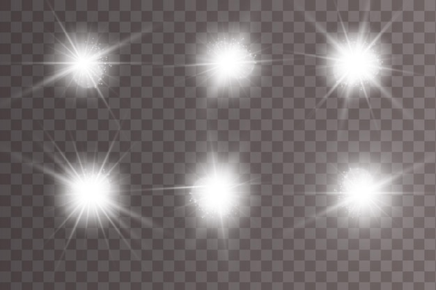 Conjunto de efeitos de luz luminosa isolado. lens flares, estrelas e coleção de faíscas.