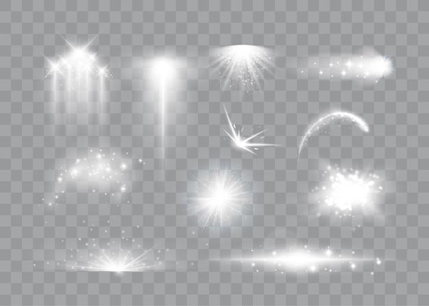 Conjunto de efeitos de luz mágicos, faíscas mágicas, estrelas, erupções estelares e partículas