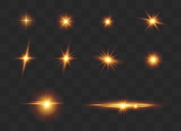 Conjunto de efeitos de luz, reflexo de lente, brilho, linha, flash do sol.