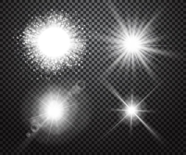 Conjunto de efeitos de luzes brilhantes com transparência