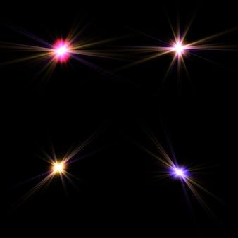 Conjunto de efeitos de luzes brilhantes douradas